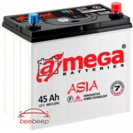 Аккумулятор автомобильный A-Mega ASIA 6CT-45-Аз R+