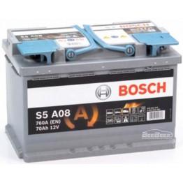 Аккумулятор автомобильный Bosch S5 AGM 70Ah START-STOP (0 092 S5A 080)