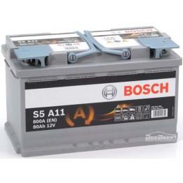 Аккумулятор автомобильный Bosch S5 AGM 80Ah START-STOP (0 092 S5A 110)